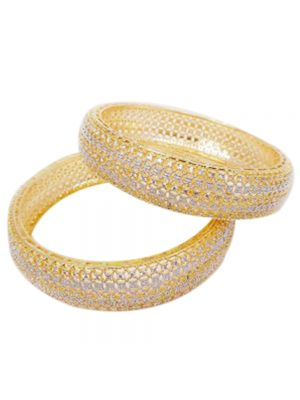 Gold Plated Bangles With White Stone