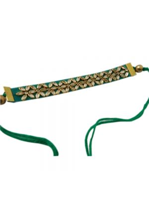 Handmade Green And Gold Plated Stone Rakhi