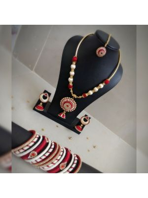 Silk Thread Jewellery with maroon and white color combination