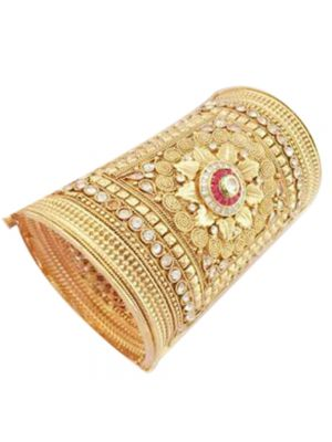 Gold Plated Broad Kada For Single hand