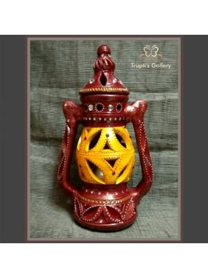 Terracotta Yellow & Brown Color Hanging Lantern Lamp