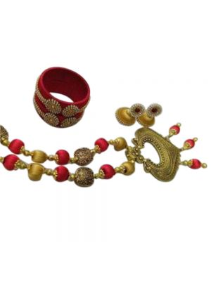 Silk Thread Necklace Set With Bangle