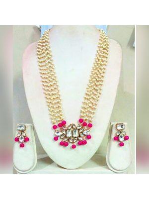 Long Chain pearls Necklace with pink and white color combination