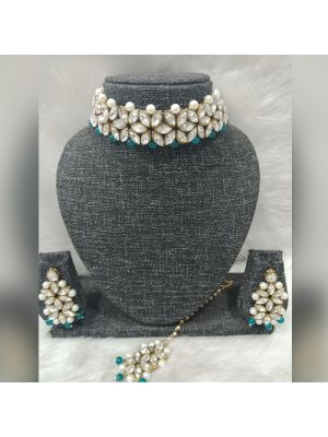 Crystal and Pearl beaded Elegant Choker with dark green and white color combination.