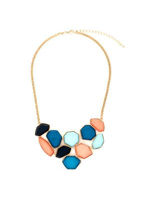 Abstract Mosaic Geometric Necklace
