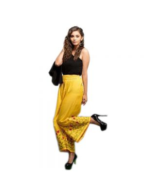 Dark Yellow Color Cotton Fabric With Embroidery Work Latest Style Palazzo
