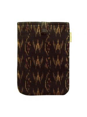 Clean Planet-friendly Tablet Sleeve - Handcrafted Ikat Mini Sleeve (Black Wine)