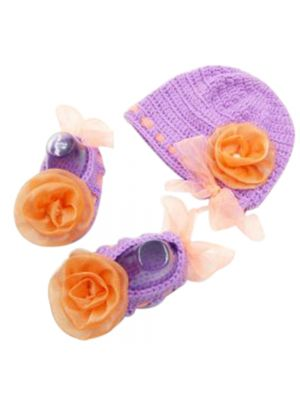 Cap and Booties Set (Purple and Orange Color Combination) New Born Girl Baby