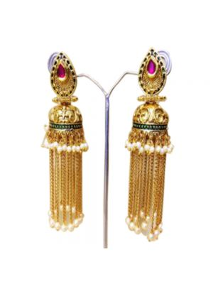 Purple Gold-Plated Jhumkas Earrings