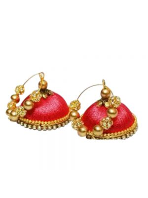 Silk Thread Red Color Jhumka