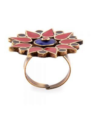 Avni Creation Red & Blue Boho Ring