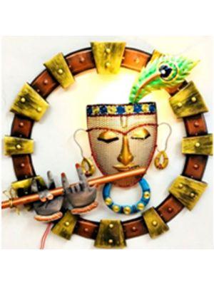 Round Krishna Wall Art With LED