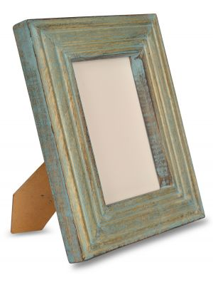 Handicraft & Hand Distressed Painted Wooden Carving Photo Frame 5*7