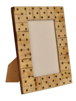 HANDICRAFT & HAND CARVED BONE & WOOD - PHOTO FRAME- 4*6
