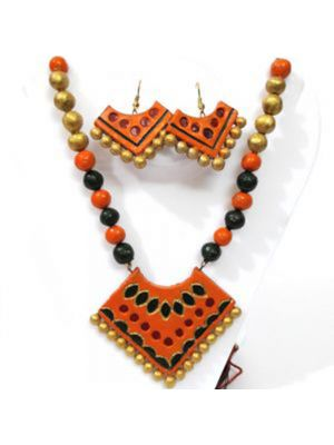 Terracotta Necklace Set With Earrings