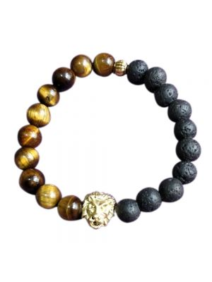 Tiger Eye And Natural Lava Stone Beads Bracelet