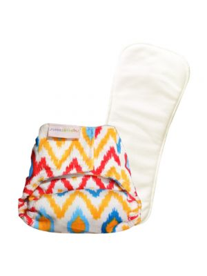 Newborn SUPERSOFT Cover Diaper + 1 Dry-Feel Soaker (Ikat Chevron) With Velcro Closure