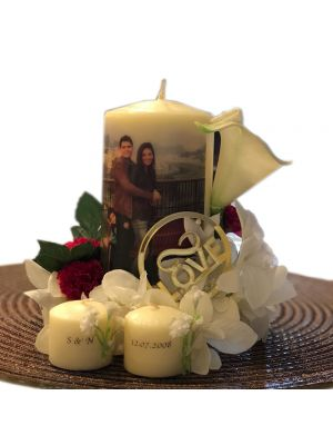 Customized Wedding Candle With Two Minnie Votive By Candleliciouss