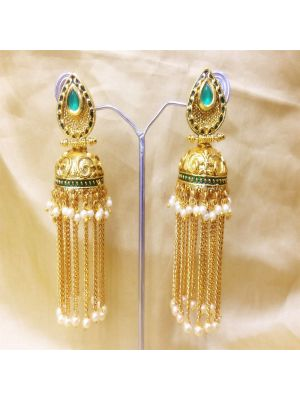Blue Gold-Plated Jhumkas Earrings