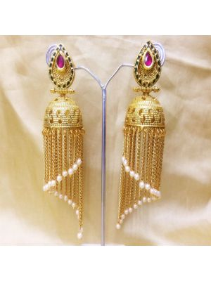 Pink Gold-Plated Jhumkas Earrings