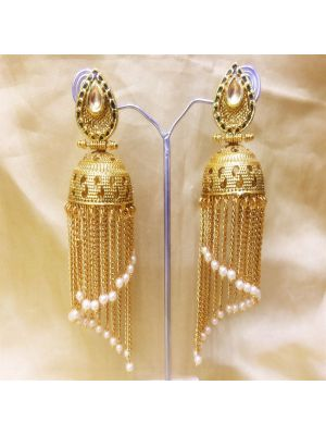 Gold-Plated Jhumka Earrings