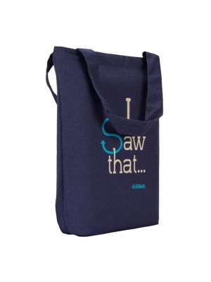 I Saw That - Eclectic Tote (Blue, cream)