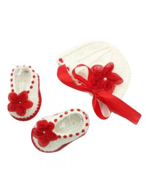 Cap and Booties Set (Red and White Combination) New Born Girl Baby
