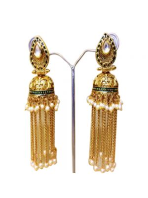 White Gold-Plated Jhumkas Earrings