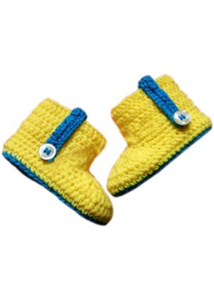 Yellow and Blue Crochet  Baby Shoes