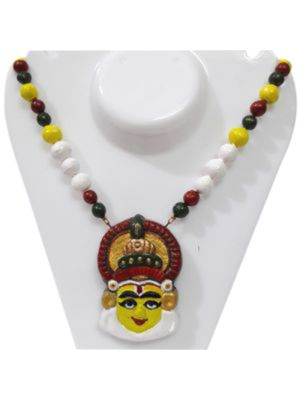 Attractive Yellow Color Terracotta Kathakali Necklace